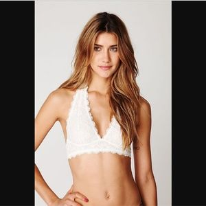 Free People Galloon White Halter Lace Bralette